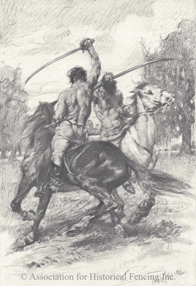 Duel on Horseback in New Orleans drawn by Arthur I. Keller