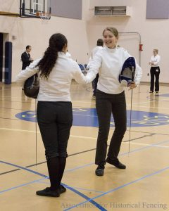 Shaking hands after the fencing bout